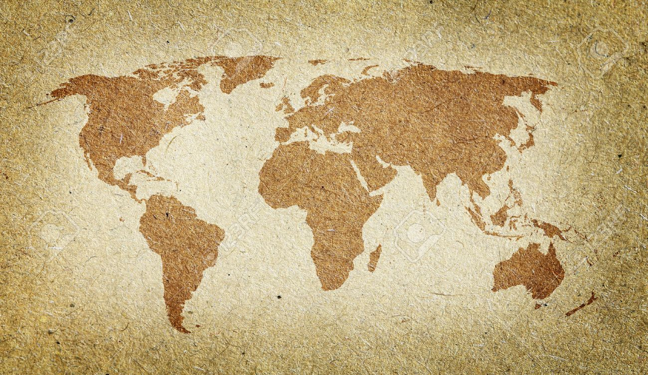 Vintage World Map. Old Paper Texture Background Stock Photo