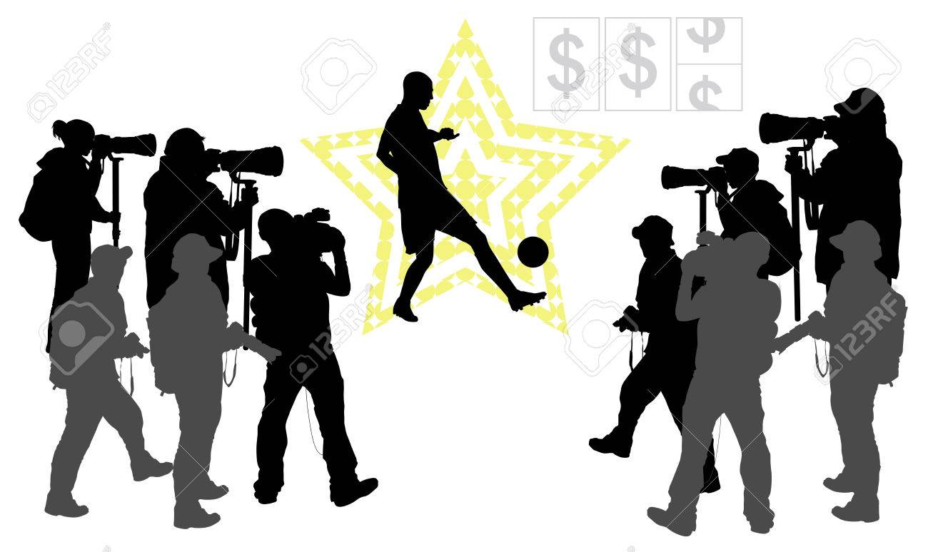 soccer player on star background and group of people with camera vector silhouettes eps 10 stock