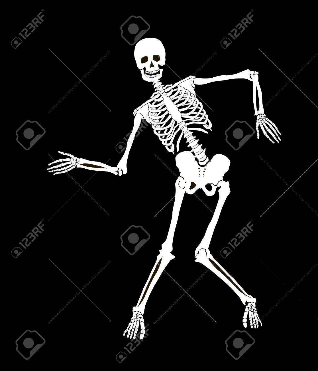Skelet Voor Halloween.Grappig Vector Skelet Gea Soleerd Op Zwart Ontwerp Van Halloween