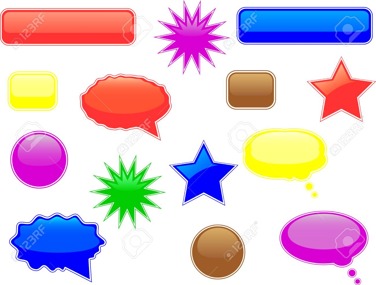 Glossy speech and thought bubbles and other elements Stock Vector - 4294669