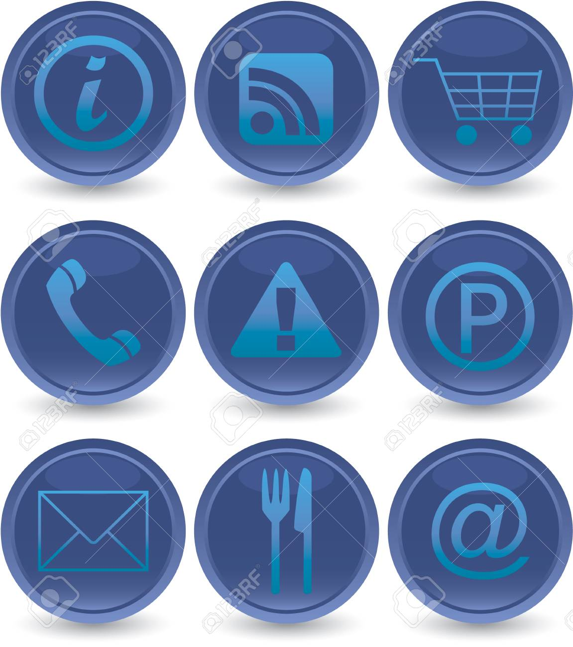 blue web icons set Stock Vector - 5330614