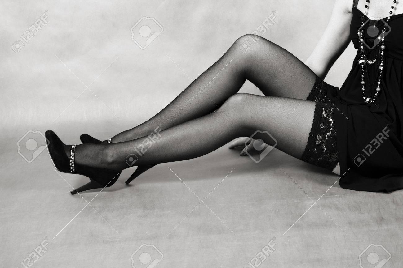 Erotic legs with black stockings photo 57