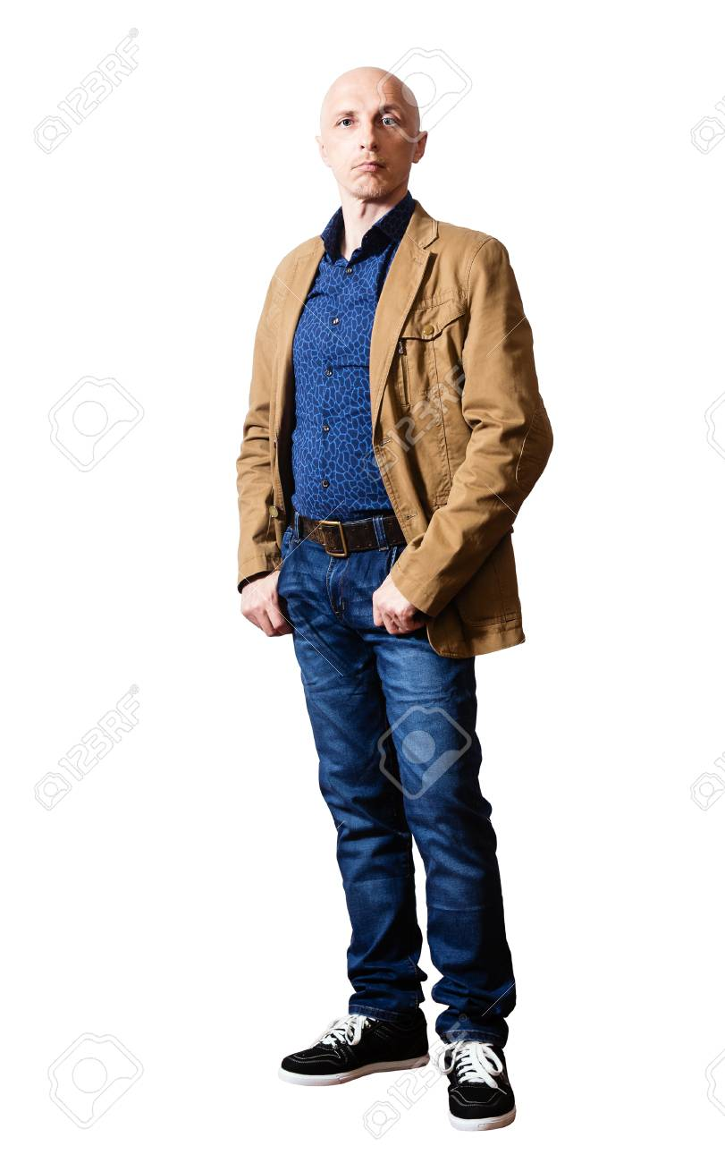 quality design 9ec96 78447 Uomo di mezza età in una giacca gialla e jeans blu