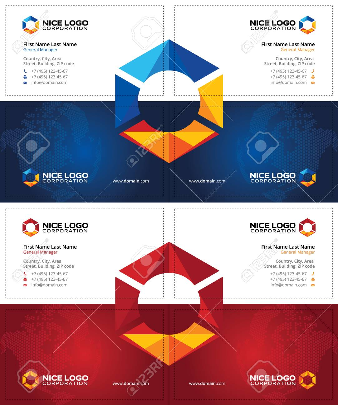 Creative Business Cards With Multicolored Hexagon, Oil And Gas ...