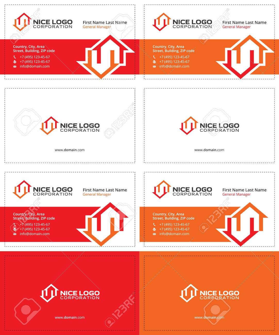 Two Houses Red And Orange Colors, Real Estate Modern Business ...
