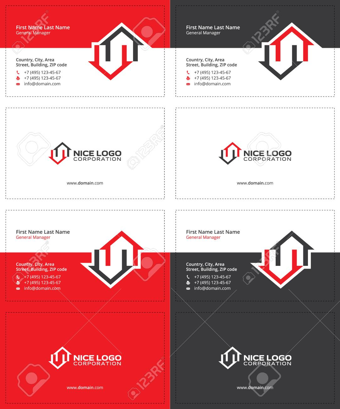 Two Houses Red And Gray Colors, Real Estate Modern Business Cards ...