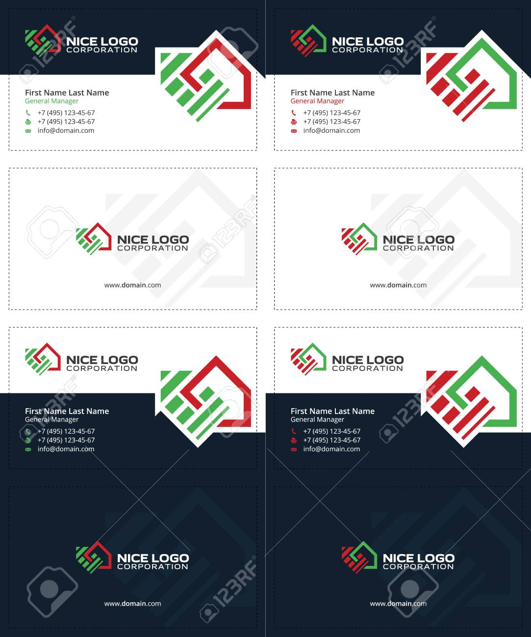 Auction and real estate business cards dark blue green and auction and real estate business cards dark blue green and red colors house reheart Image collections