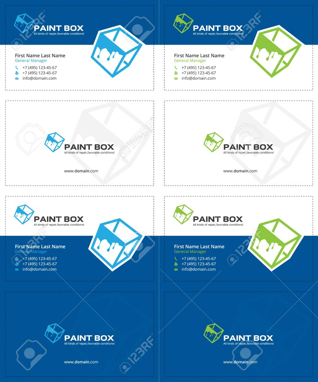 Paint Splash Blue And Green Colors, Cube Business Cards, Box ...