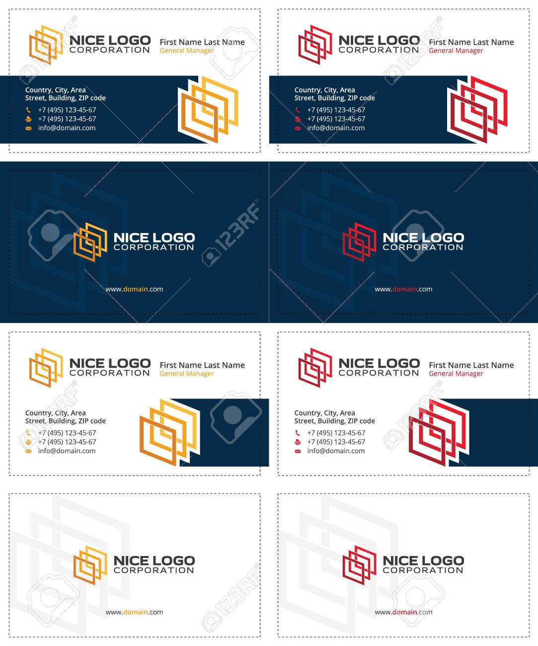 Colored Squares 3d Business Cards, Dark Blue, Yellow And Red ...