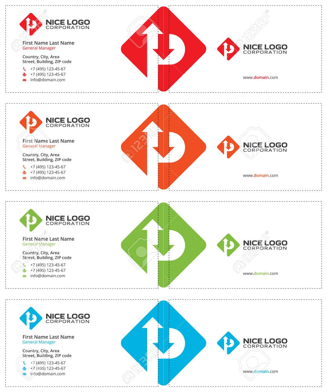 Letter P Rhombus Business Cards, Road Sign With Arrows, White ...