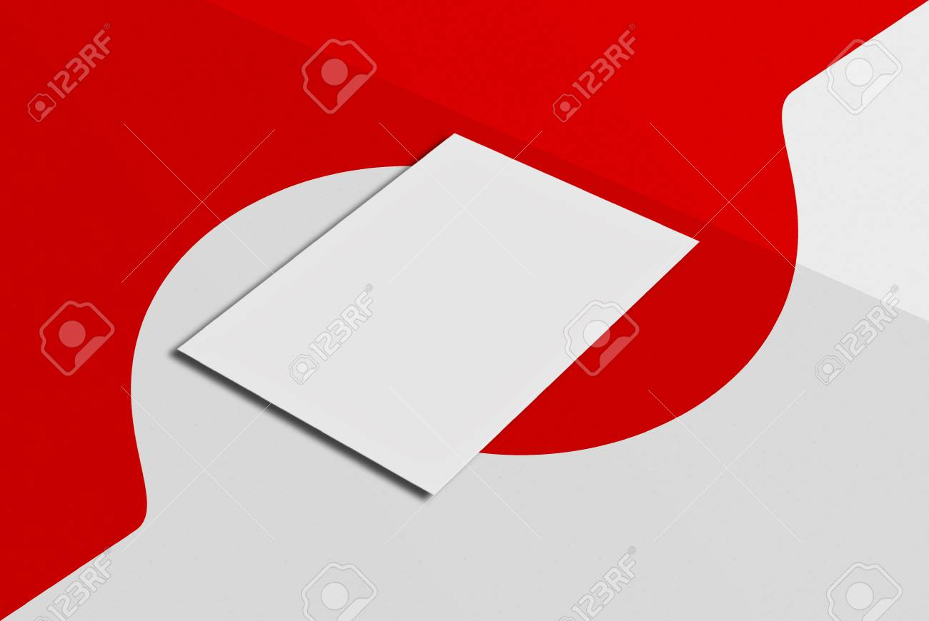 Wedding Invitation. White Paper Card On Grey And Red Background ...