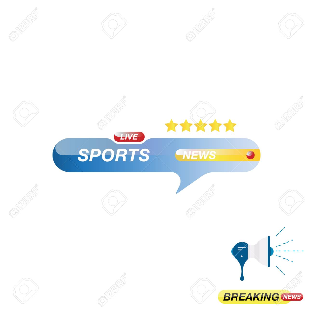 Sports news, icon for journalism of news TV channels and a loudspeaker