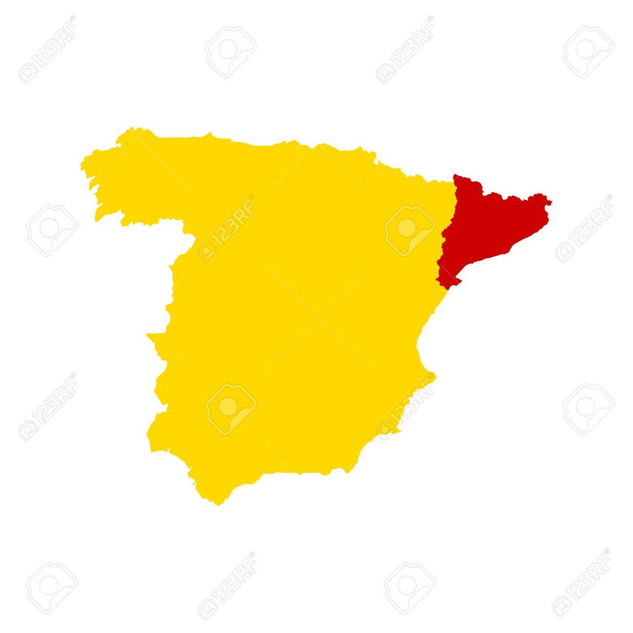 Separation Of Catalonia And Spain Abstract Map Spain And Catalonia