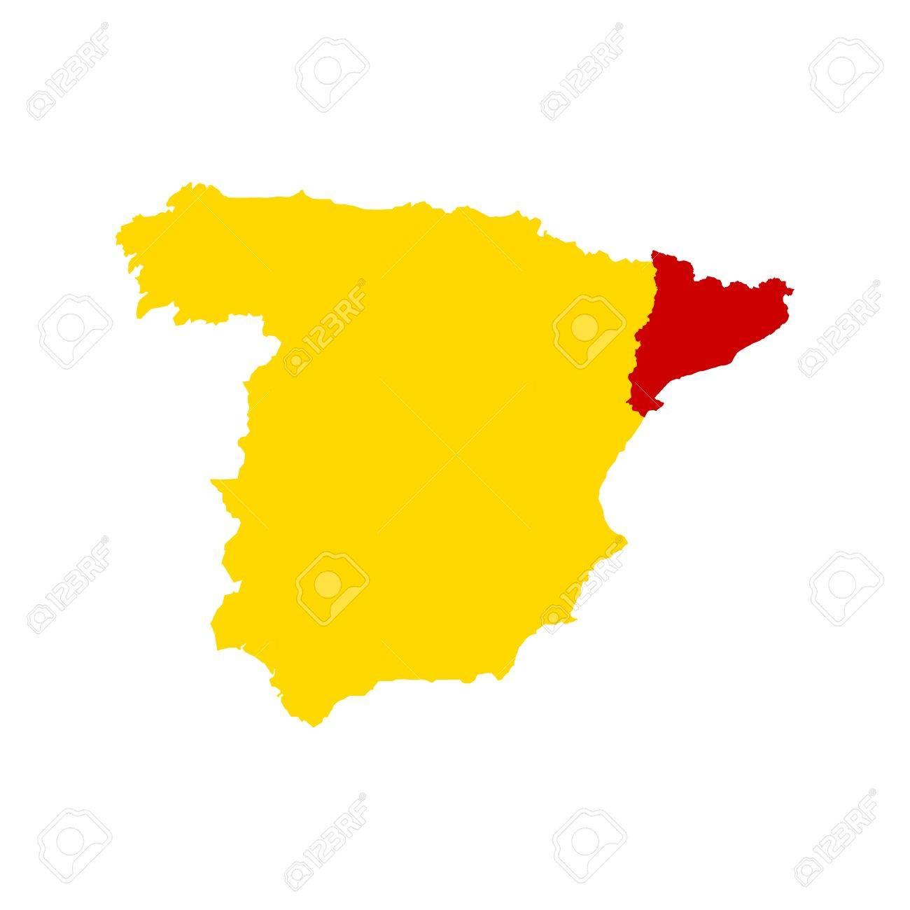 Spanien Katalonien Karte.Stock Photo