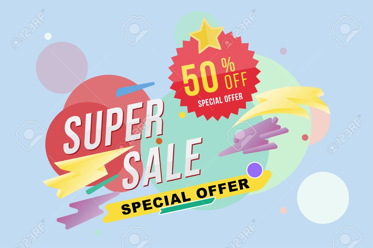 super sale 50 percent discount poster and flyer template for