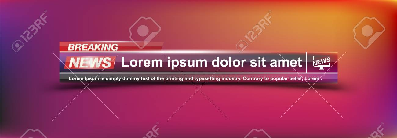 Breaking News Templates Title On Colour Background For Screen TV Channel Flat Vector Illustration EPS10