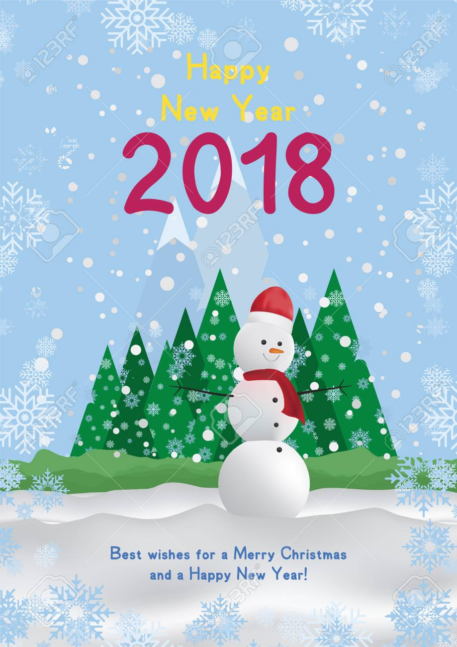 Festive Poster With A New Year And A Merry Christmas Greeting