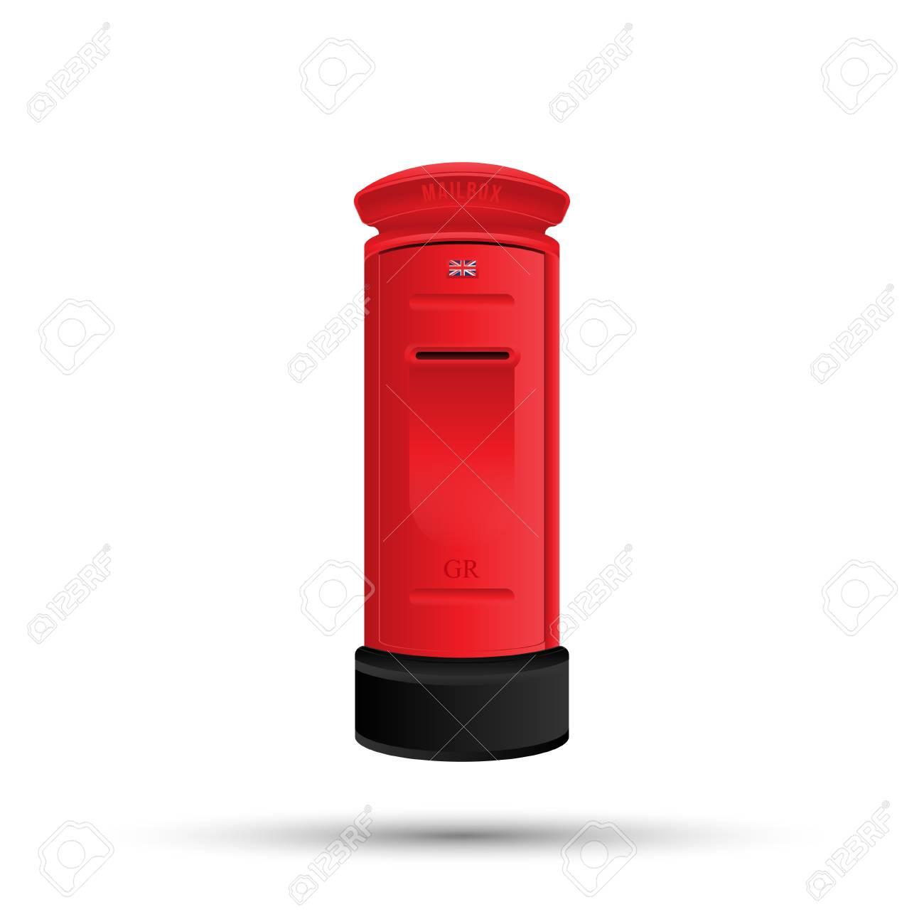 Englisch Rote Briefkasten Für Porto Vektor Illustration Isoliert