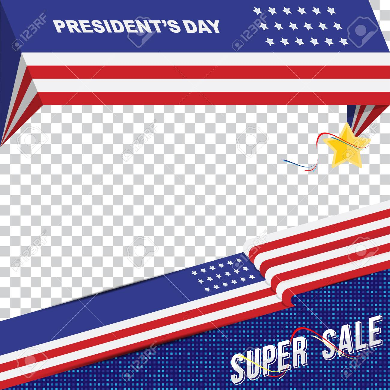 happy presidents day of usa template banner design element with