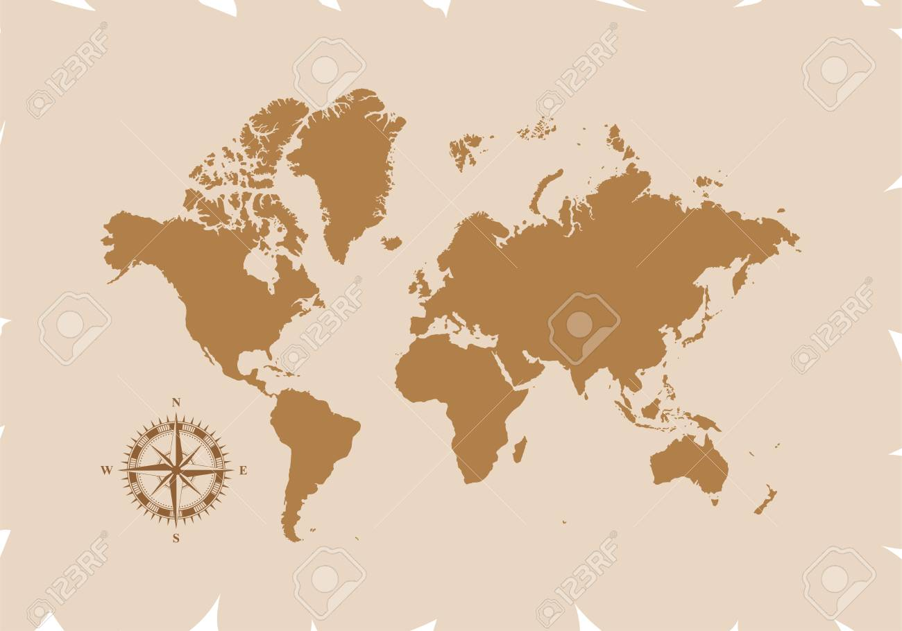 Retro World Map With Compass Vector Illustration Isolated On