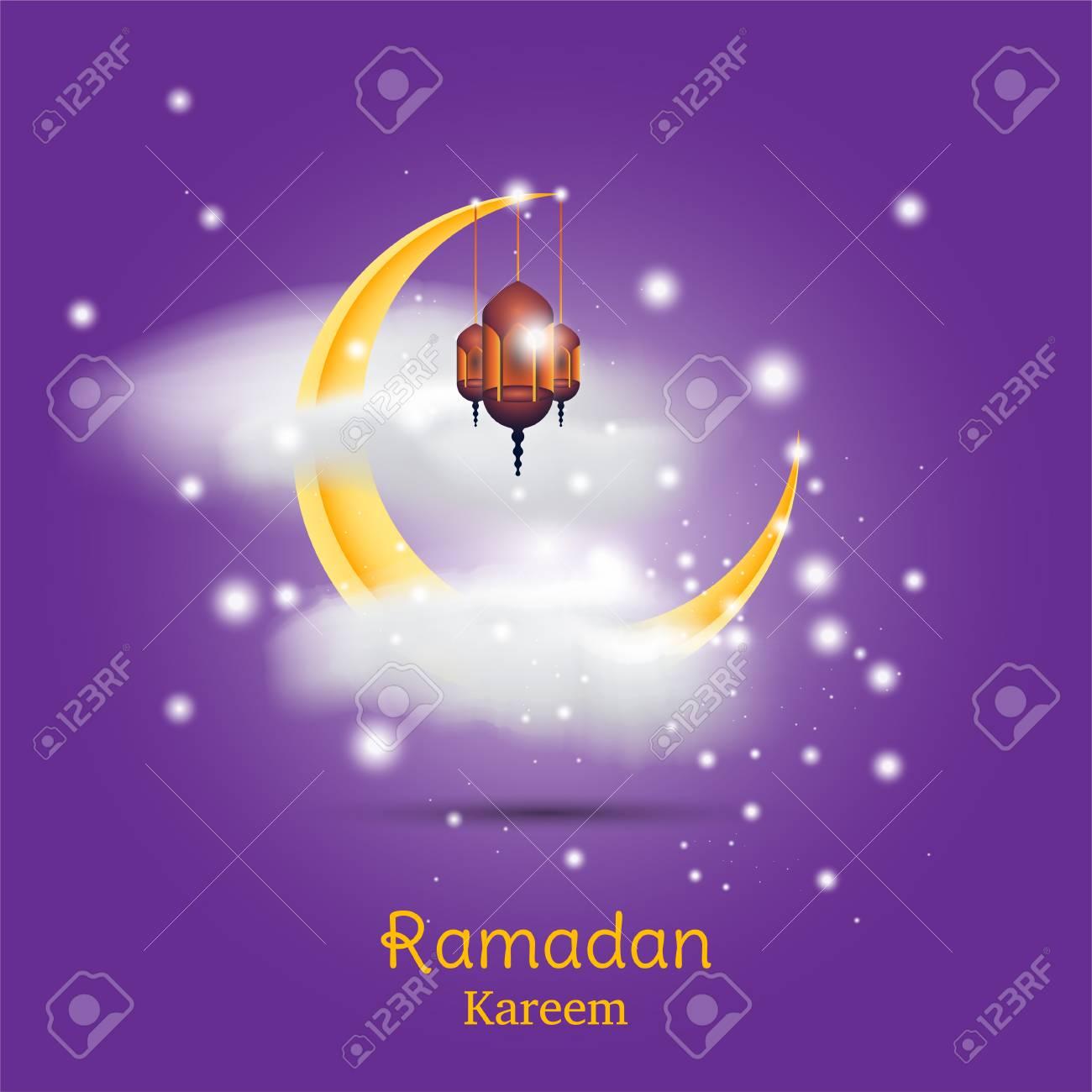 ramadan kareem greeting card template with crescent moon lamp