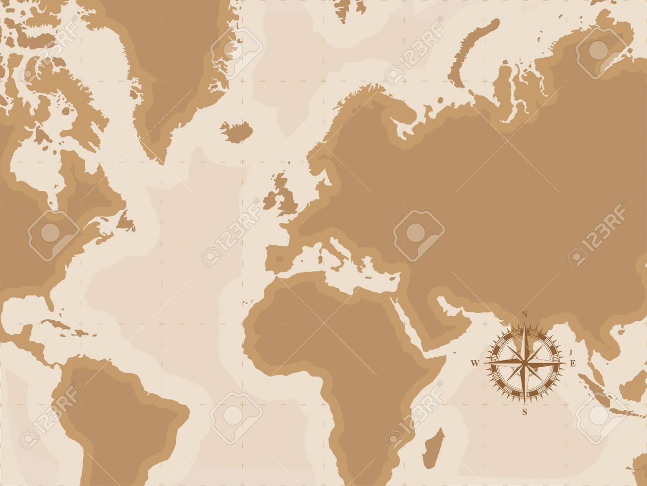 Brown Retro World Map With Compass Flat Vector Illustration