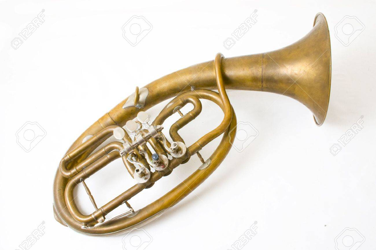 Alto saxhorn close up isolated on white Stock Photo - 6036193