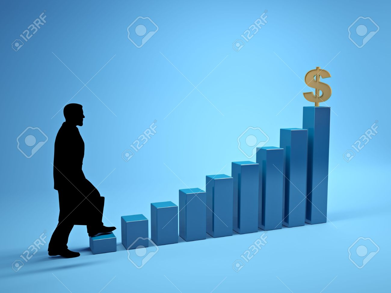 Three dimensional image of the ladder of success Stock Photo - 13338713