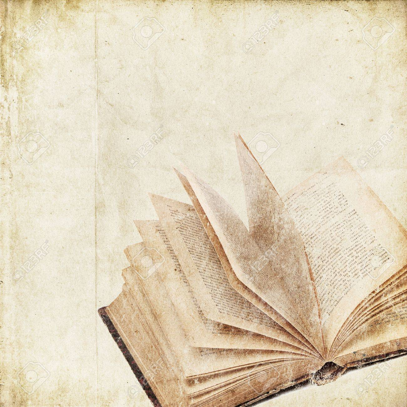 retro background with old book Stock Photo - 14524269