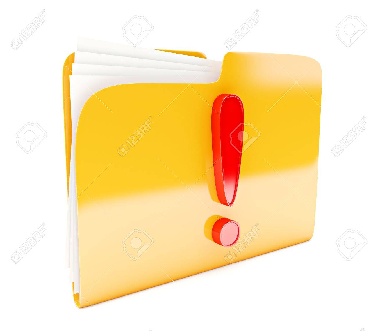 yellow folder 3d icon with red exclamation mark isolated on white Stock Photo - 14523714