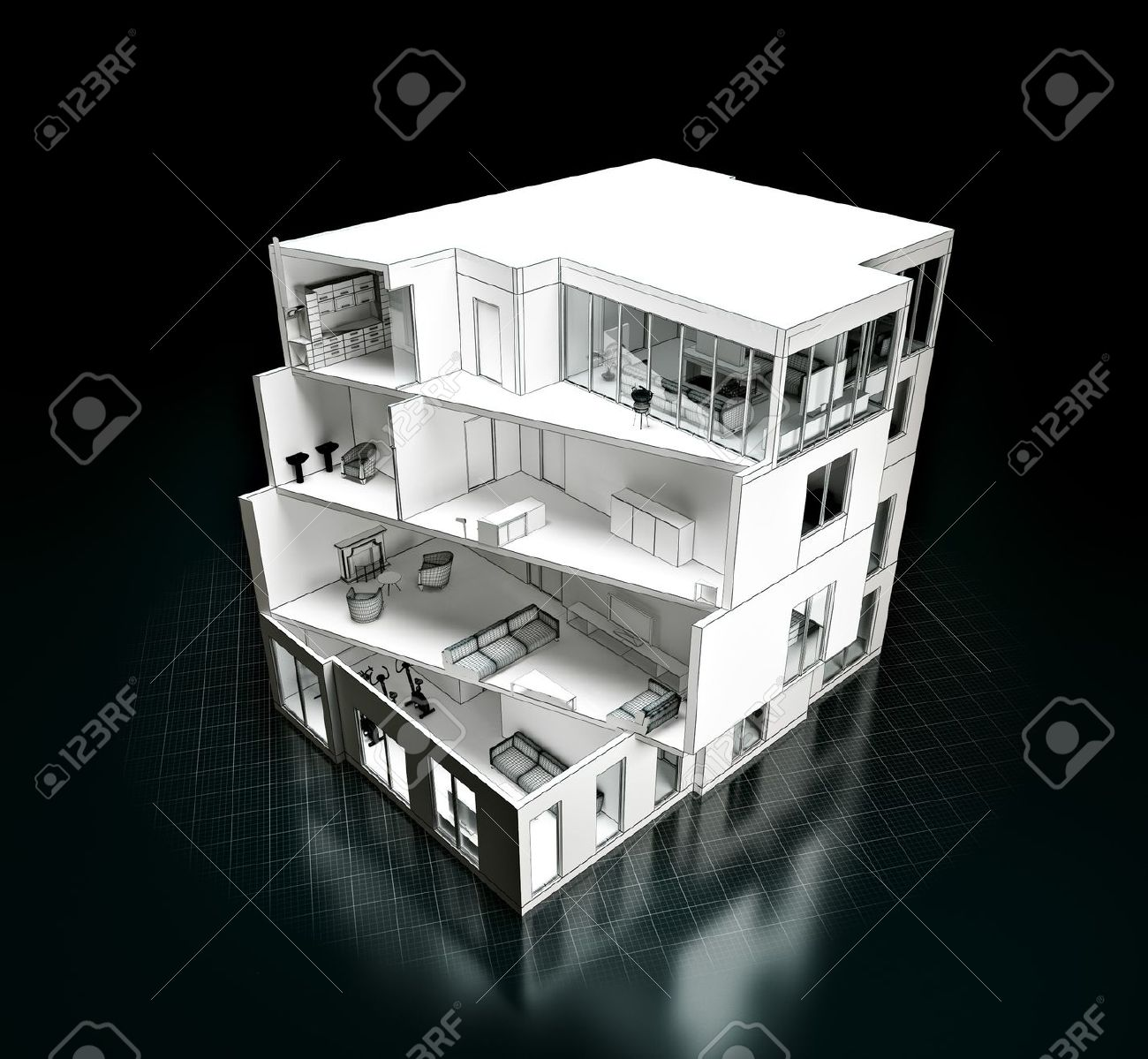3d Rendering Of A House Project Model In A Cut Architecture