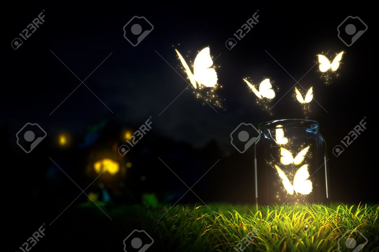 magic butterfly take off from glass jar Stock Photo - 14656202
