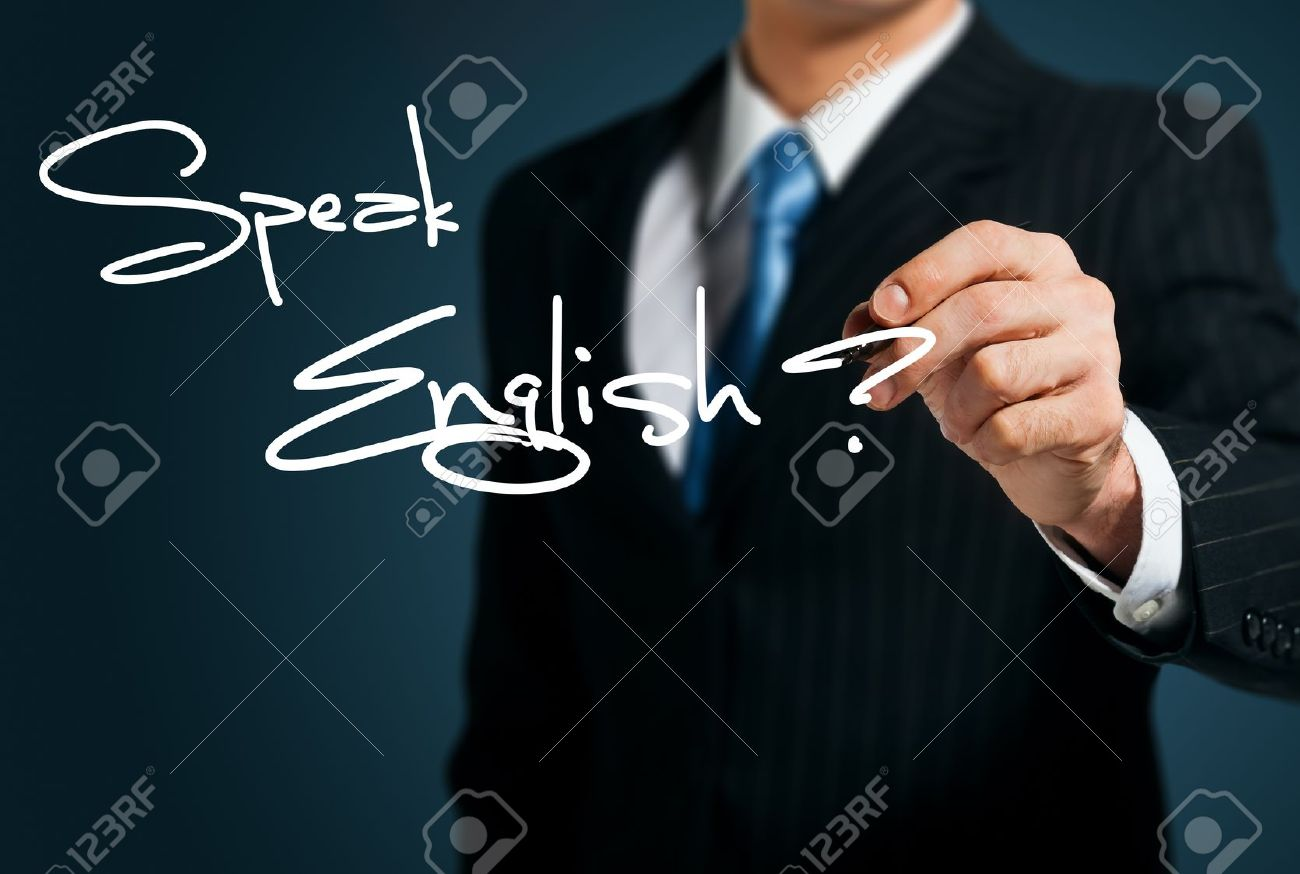 Learning English. Man writes on the screen Speak Stock Photo - 15222258