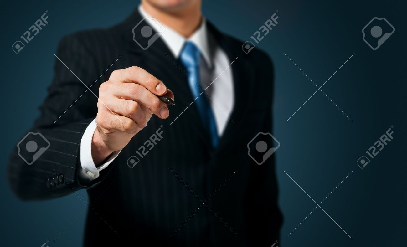 Businessman writing, drawing on the screen Stock Photo - 15222288