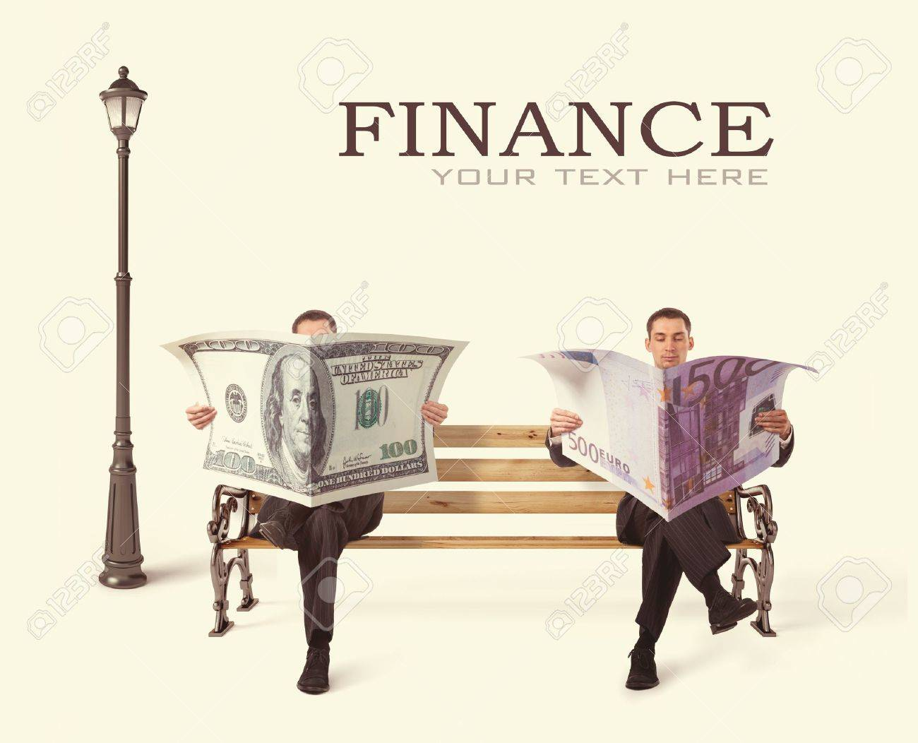 Business People sitting on a bench with currency in hands Stock Photo - 16465268