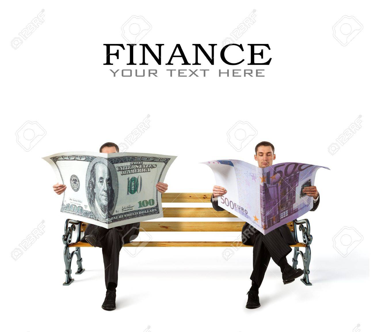 Business People sitting on a bench with currency in hands Stock Photo - 16465267
