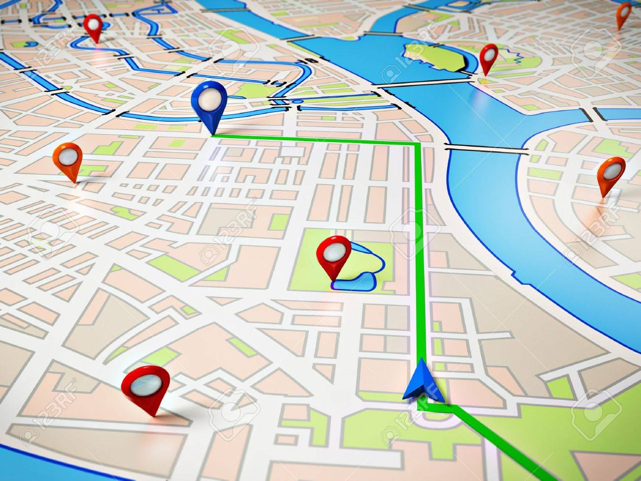 Street map with gps icons navigation stock photo picture and stock photo street map with gps icons navigation gumiabroncs Image collections