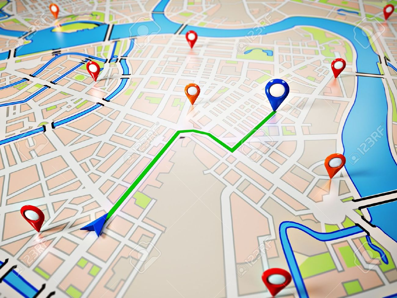 Gps Route Map Street Map With GPS Icons Navigation Stock Photo, Picture And