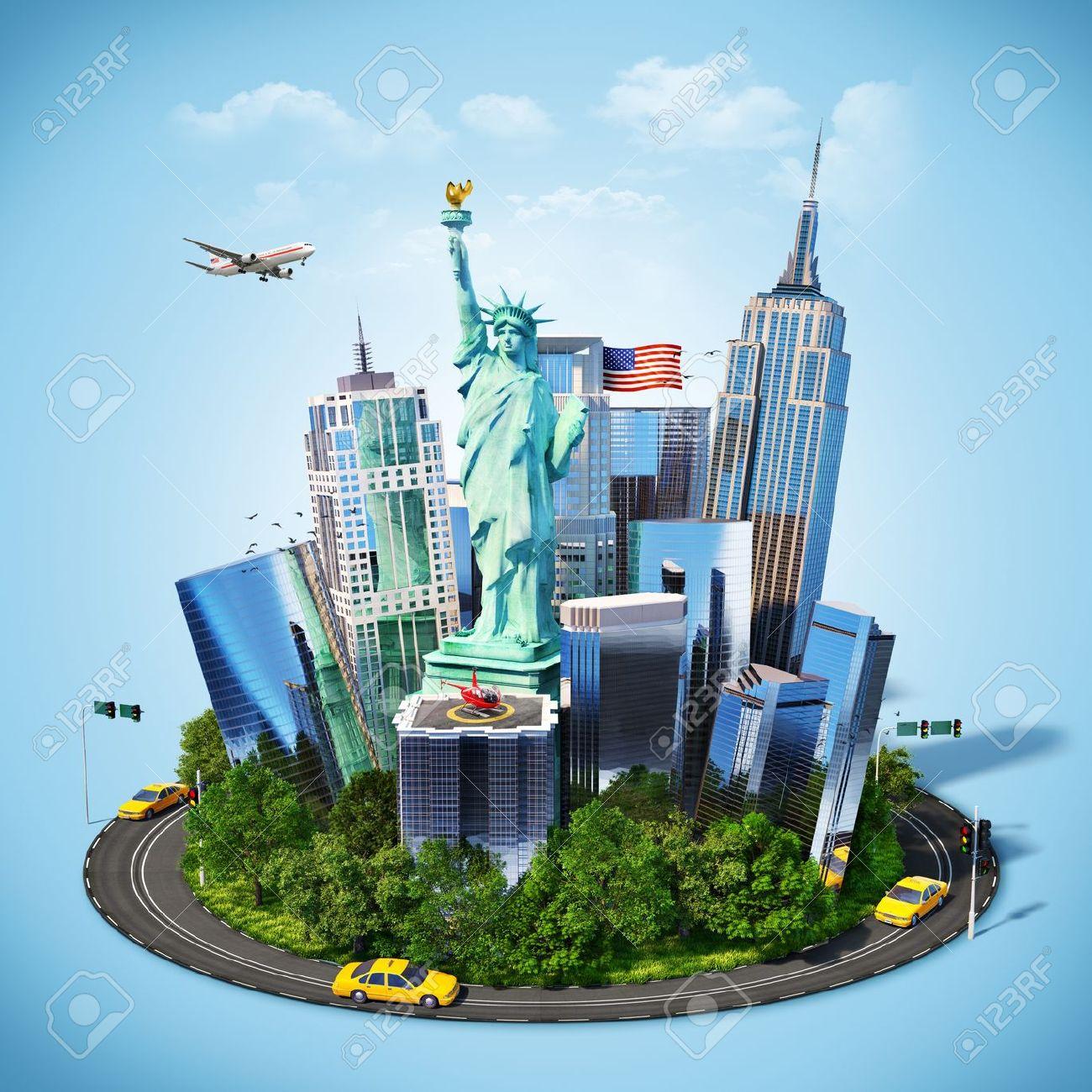 Famous Symbols Of New York City Traveling To America Stock Photo