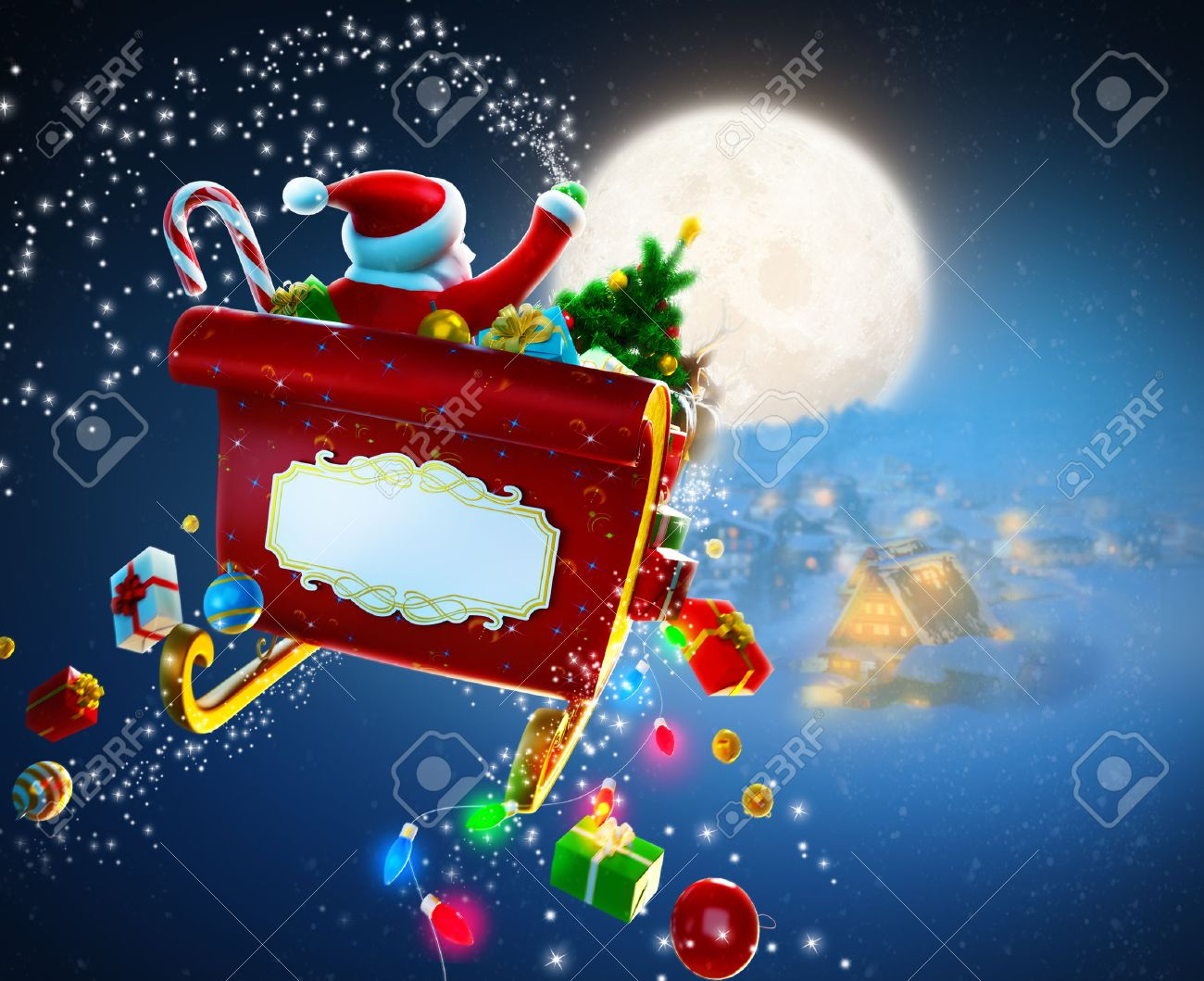 Christmas background  Santa Claus flies by sleigh above houses Stock Photo - 22478779
