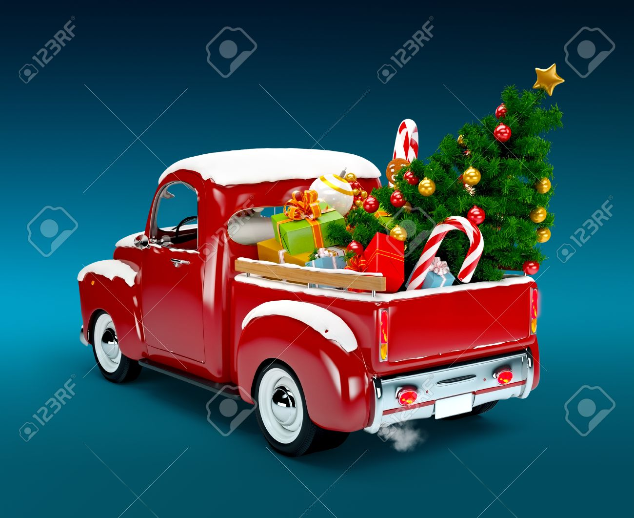 Free Christmas Tree Pick Up Part - 40: Christmas Background Pickup With Christmas Tree And Gifts Merry Christmas  And Happy New Year Stock Photo