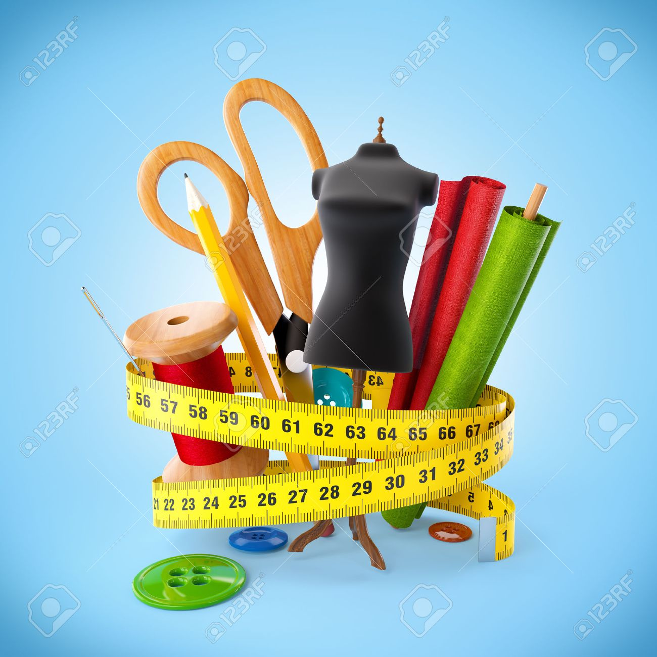 Sewing Tools At Blue Background Fashion Design Concept Stock Photo Picture And Royalty Free Image Image 26747321