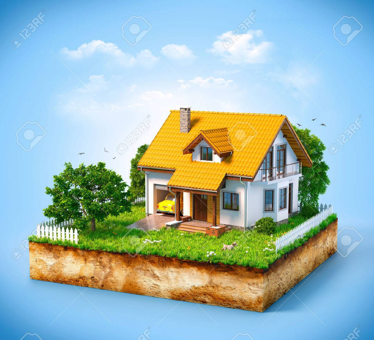 White house on a piece of earth with garden and trees. - 38072942