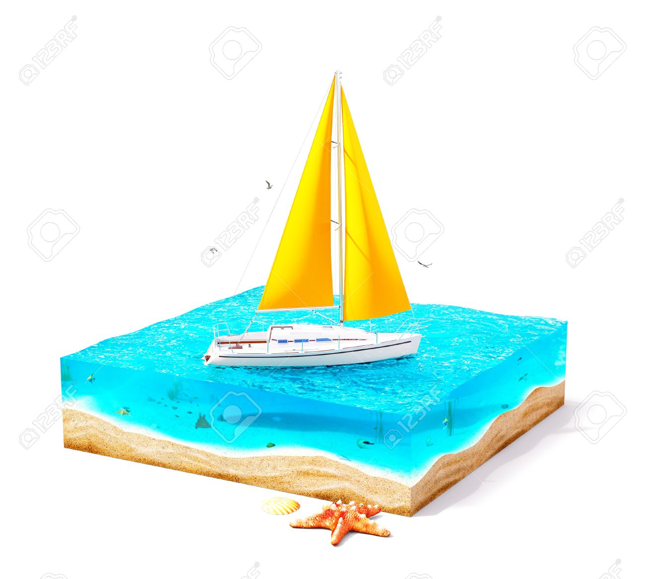 Tropical Island Yacht Piece Of Tropical Island With Luxury White Yacht In Ocean In