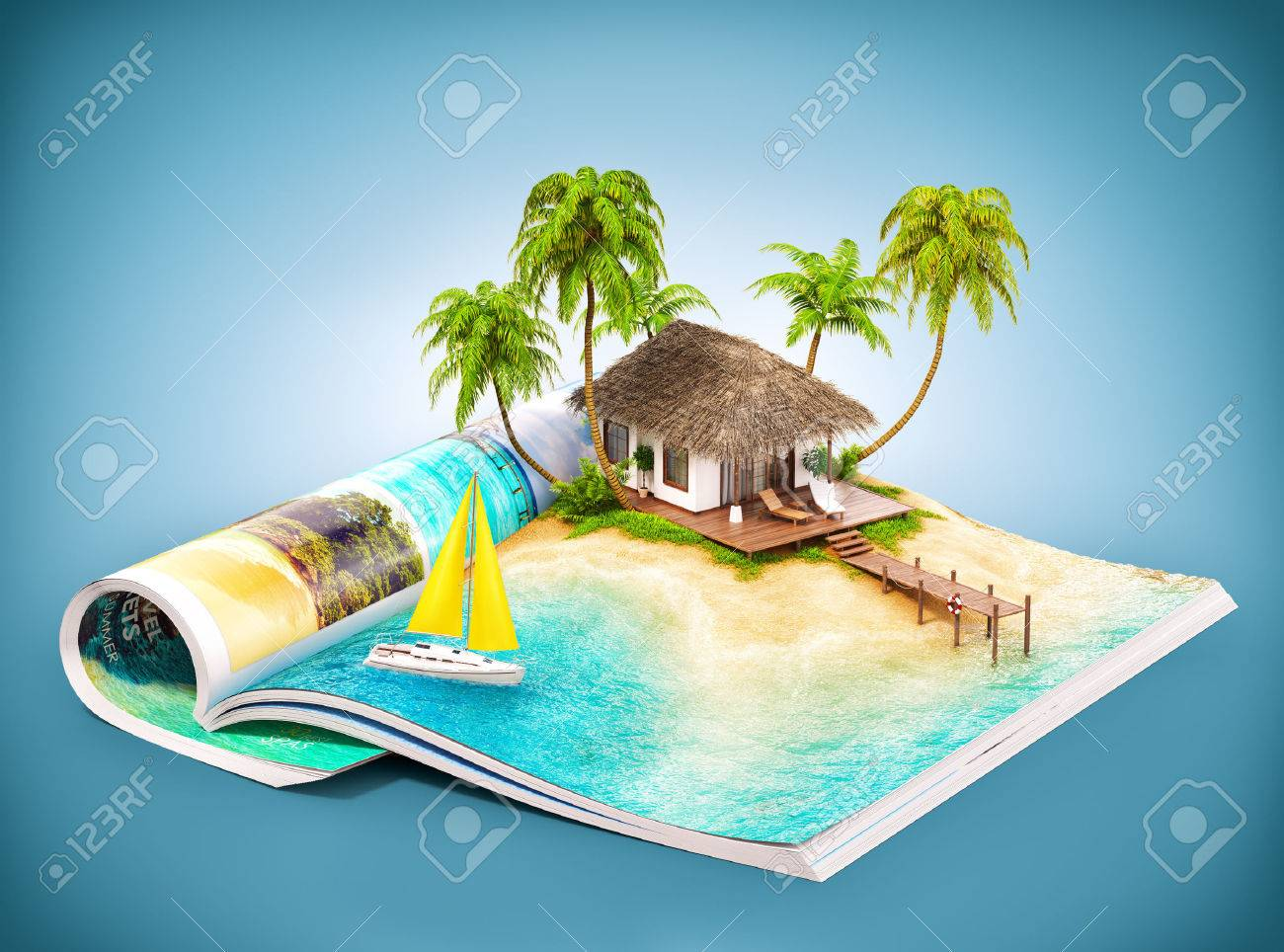 Tropical island with bungalow and pier on a page of opened magazine.  Unusual travel illustration Stock Illustration - 45444509
