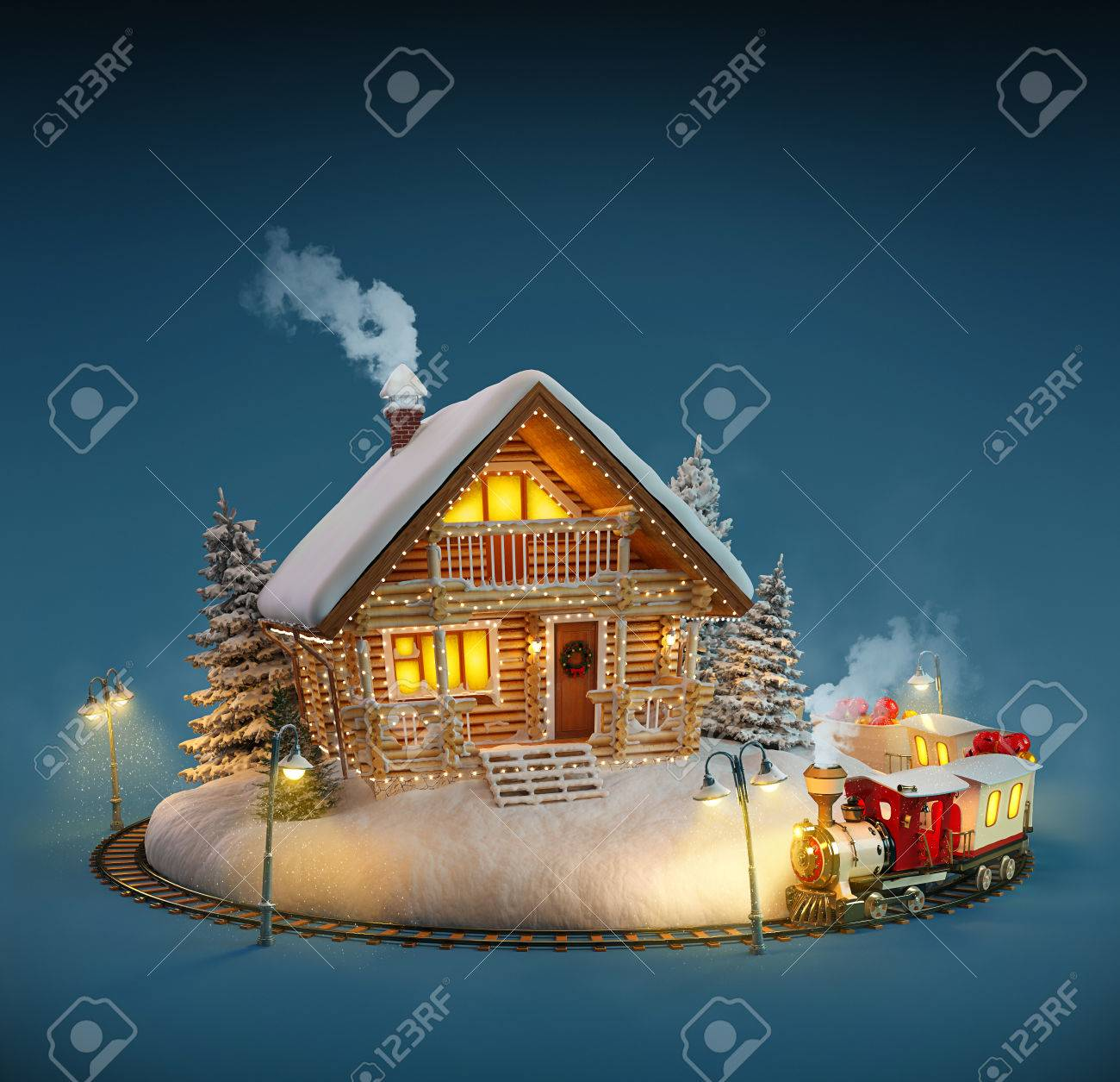 decorated log house with christmas lights and magical train on blue background unusual christmas illustration