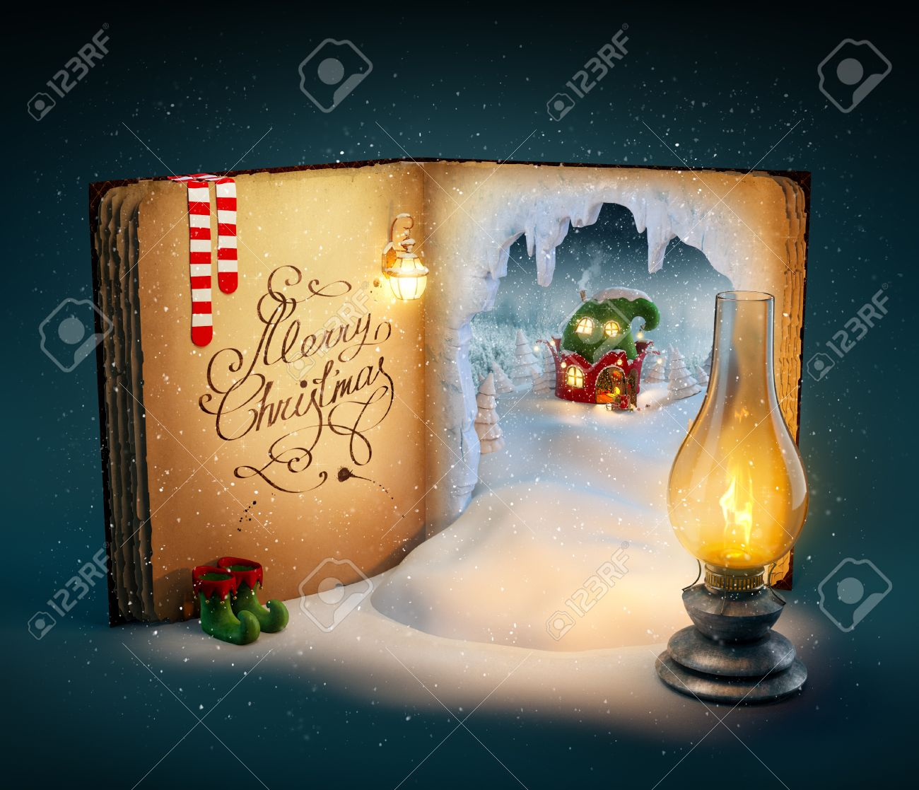 Magical opened book with fairy country and christmas stories. Unusual christmas illustration Stock Illustration - 46807198