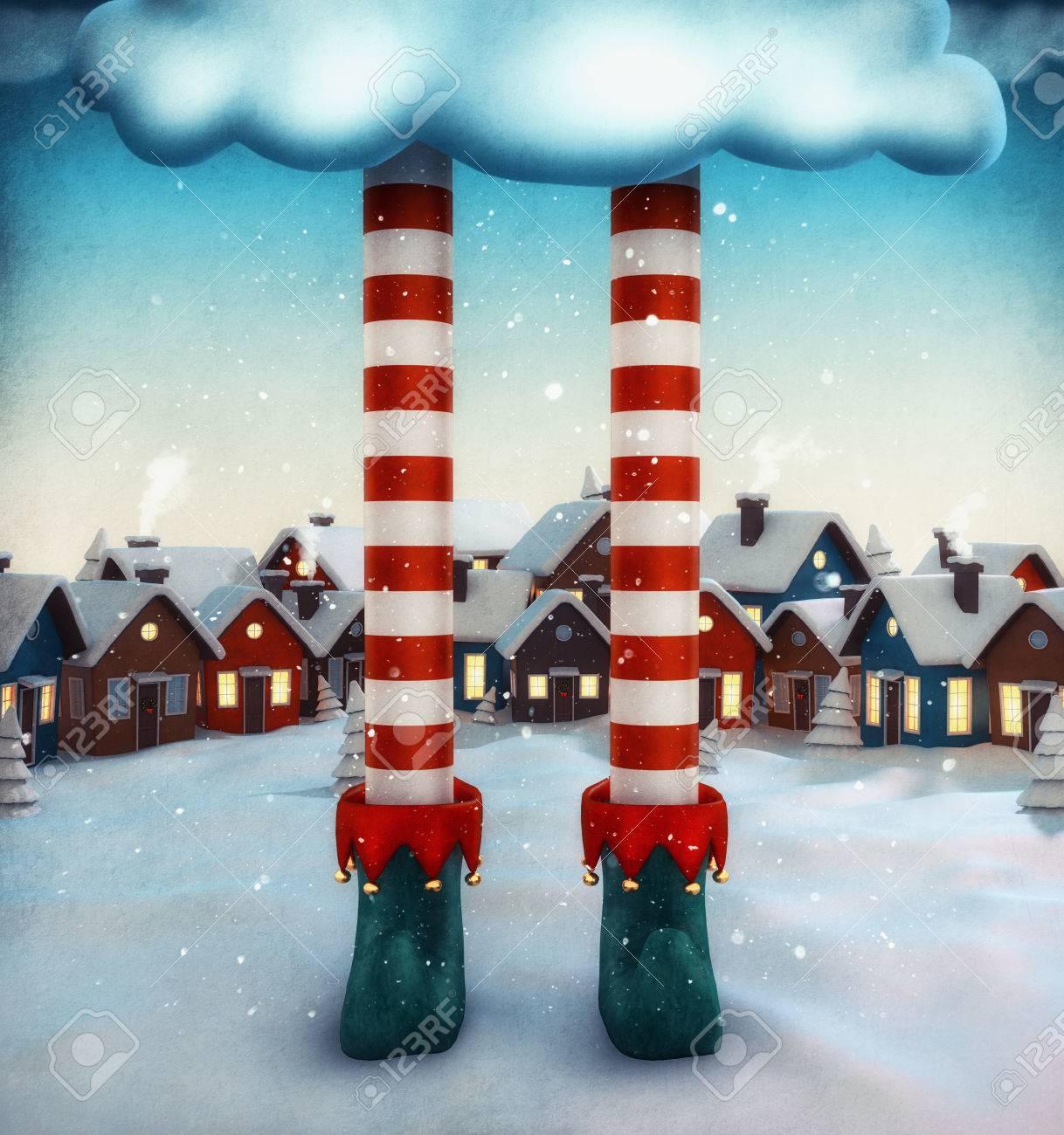 Amazing fairy illustration with elf and cartoon houses. Unusual christmas illustration. Stock Illustration - 46807289