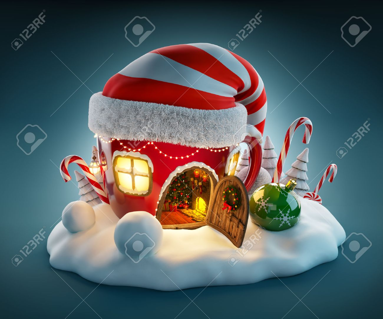 Amazing fairy house in elfs hat decorated at christmas in shape of tea cup with opened door and fireplace inside. Unusual christmas illustration. Stock Illustration - 46807306