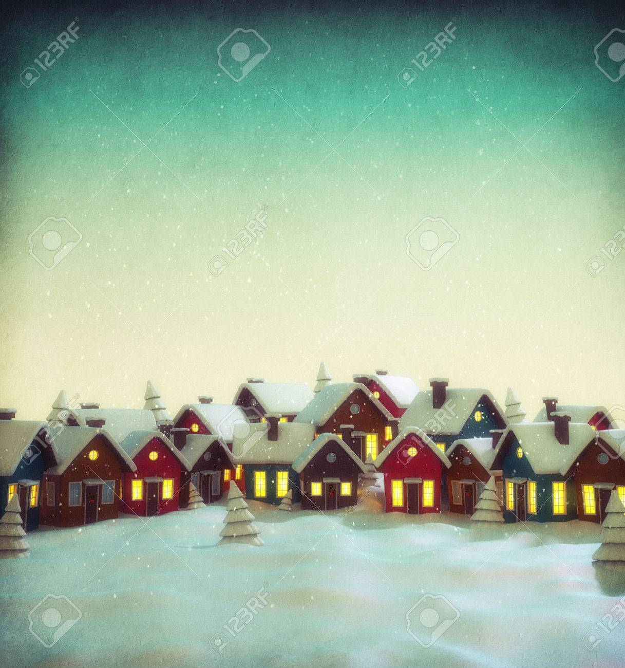 Cute little fairy town with cartoon houses in winter. Unusual christmas illustration Stock Illustration - 46807366